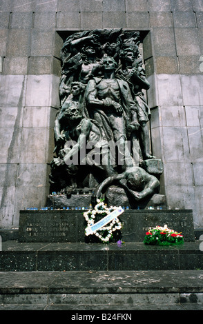 July 9, 2008 - Monument to the Heroes of the Warsaw Ghetto at the site of the former Ghetto in the Polish capital - Stock Photo