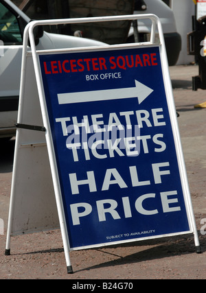 Box office sign in Leicester Square selling theatre tickets for half price - Stock Photo