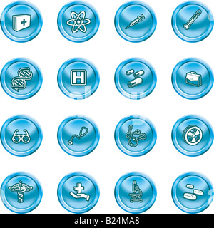 Medical and scientific icons. A set of icons related to medicine and science - Stock Photo