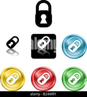 Several versions of icon symbol stylised padlock - Stock Photo