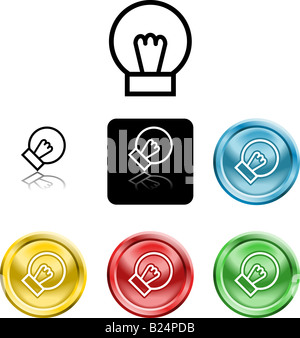 Several versions of an icon symbol of a stylised lightbulb - Stock Photo