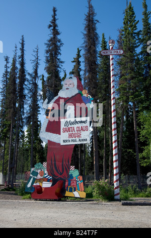 Statue of Father Christmas / Santa Claus besides his 'home' in North Pole, Alaska. - Stock Photo