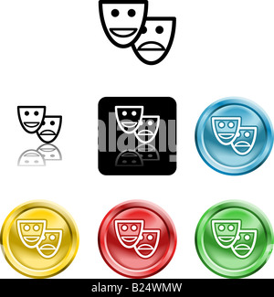 Several versions of an icon symbol of a stylised set of masks - Stock Photo