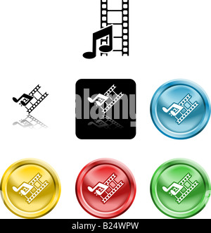 Several versions of an icon symbol of stylised music note and movie film - Stock Photo