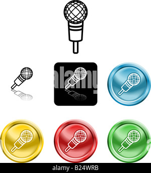 Several versions of an icon symbol of a stylised microphone - Stock Photo