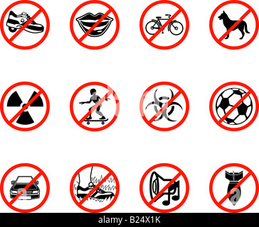 No icons; A series set of icons all outlining things that are prohibited or being called on to be banned! - Stock Photo