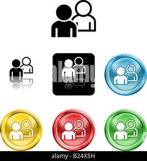 Several versions of an icon symbol of stylised people - Stock Photo