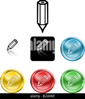 Several versions of an icon symbol of a stylised pencil - Stock Photo