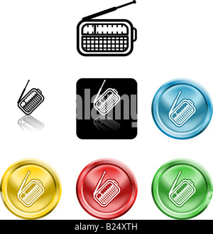 Several versions of an icon symbol of a stylised radio - Stock Photo