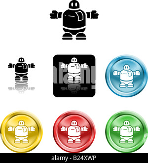 Several versions of an icon symbol of a stylised robot or alien - Stock Photo