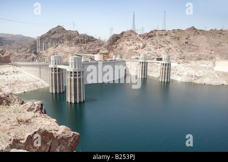 Intake Towers of the Hoover Dam between Arizona and Nevada USA - Stock Photo