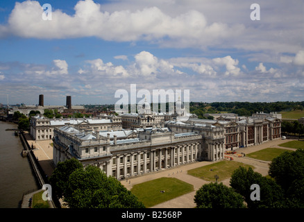 Aerial view of the Old Royal Naval College in Greenwich - Stock Photo