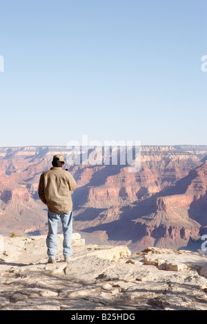 View from South Rim of Grand Canyon in Arizona USA - Stock Photo