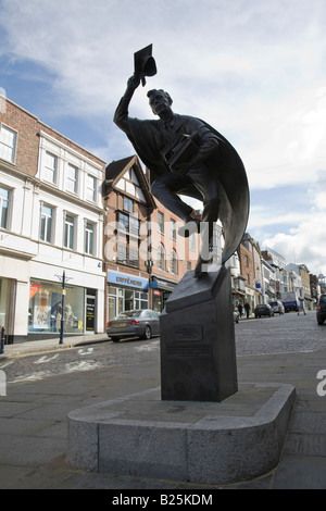 The Surrey Scholar is an 11ft high sculpture by Allan Sly at the bottom of Guildford High Street, Guildford, Surrey, - Stock Photo