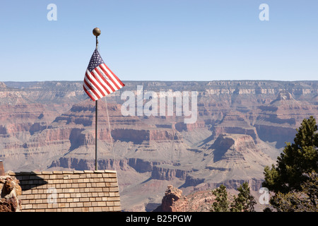 USA Flag at Grand Canyon Village in Arizona USA - Stock Photo