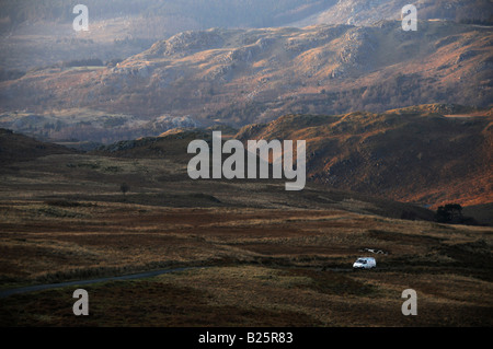 View from Ulpha road to Harter Fell in the English Lake District. - Stock Photo