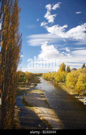 Autumn Leaves Blowing in Strong Wind and Manuherikia River Alexandra Central Otago South Island New Zealand - Stock Photo