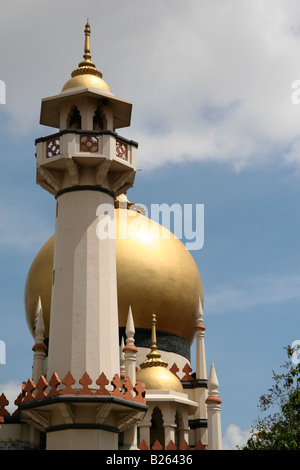 The tower and minaret of the Sultan Mosque in Singapore. - Stock Photo