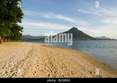 Sandy beach at Tamarin bay, Hotel Taj Exotica Resort & Spa, Mauritius - Stock Photo
