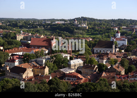 View from the castle hill over the old town, Lithuania, Vilnius - Stock Photo