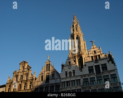 Historic houses on the grote markt square in the city center of Antwerp Flanders Belgium - Stock Photo
