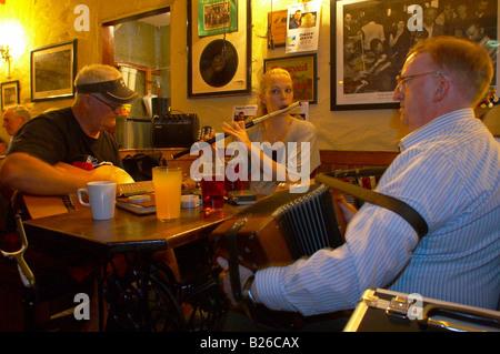indoor photo, Irish Folk musicians in O'Connor's in Doolin, County Clare, Ireland, Europe - Stock Photo