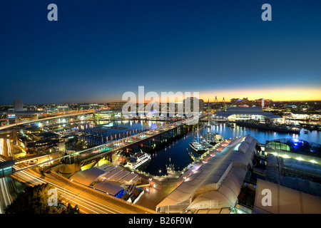 View from Sheraton hotel window out over Pyrmont Bridge, Darling Harbour and Cockle Bay, Sydney, NSW, Australia, - Stock Photo