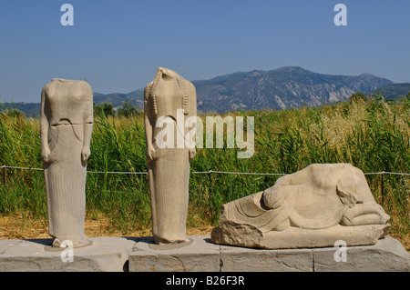 Group of statues by sculptor Geneleos, Heraion archaeological site, Hera Temple, Samos, Greece - Stock Photo