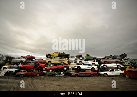Car breakers yard New Zealand Cars stacked awaiting the crusher - Stock Photo