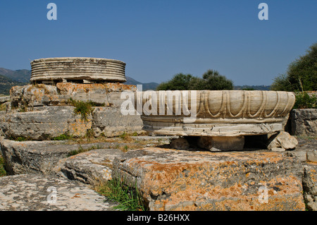 Heraion archaeological site of Hera Temple, Samos, Greece - Stock Photo