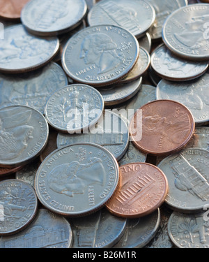 Close up of pile of coins - Stock Photo