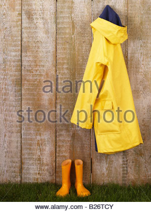 Rain Coat and Rubber Boots - Stock Photo