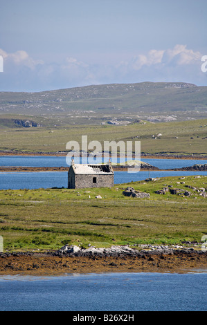Abandoned and ruined farm building or Shieling on the Isle of Lewis - Stock Photo