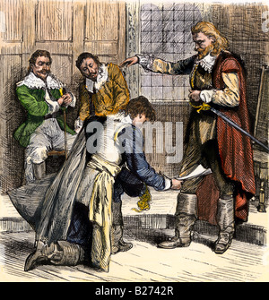 Nathaniel Bacon submitting to Governor Berkeley colonial Virginia 1676. Hand-colored woodcut - Stock Photo