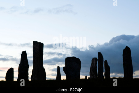 Callanish Standing Stones at dawn, Isle of Lewis, Hebrides, Scotland, UK - Stock Photo