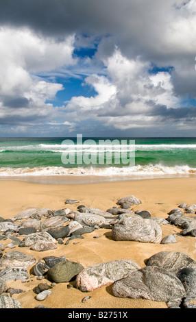Dhail Mor beach on Isle of Lewis, Hebrides, Scotland, UK - Stock Photo