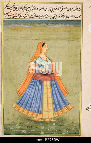 Lady carrying pots in her waist band.  Rajasthani miniature painting. - Stock Photo