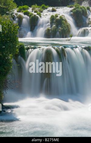 Krka waterfalls, Skradinski buk, upper falls and lakes, Croatia, Europe, long exposure for flowing water - Stock Photo