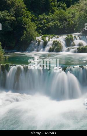 Krka waterfalls, upper falls in Skradinski buk, Croatia, Europe, long exposure for water longexposure scenic - Stock Photo