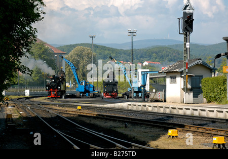 Loading coal onto steam locomotives at Wernigerode with Mount Brocken summit in background, Harz, Germany. - Stock Photo