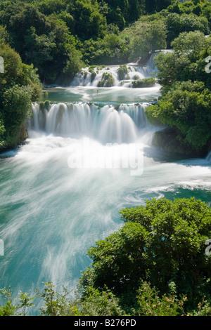 Krka waterfalls, upper falls in Skradinski buk, Croatia, Europe, long exposure for flowing water - Stock Photo