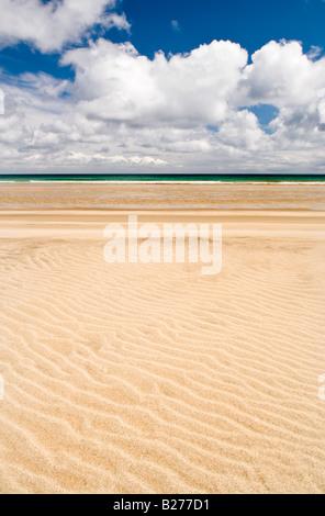 Sand patterns on Garry beach, Isle of Lewis, Hebrides, Scotland, UK - Stock Photo