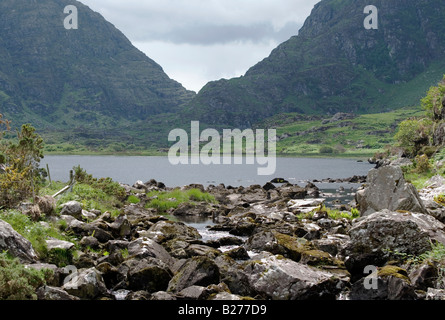 View towards Gap Of Dunloe, County Kerry, Ireland. - Stock Photo