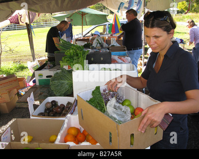 Fresh fruit and vegetable outside store in Currumbin Valley QSL Australia - Stock Photo