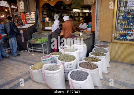 spices in bags on Fruit and vegetable market, Amman, Jordan, Arabia - Stock Photo
