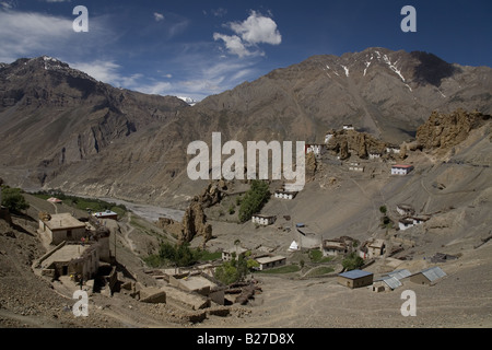 View of Dhankar village (3890m) and monastery. Spiti valley, Himachal Pradesh. India, Asia. - Stock Photo