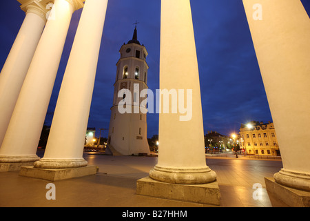 LTU Lithuania Capital Vilnius The St Stanislaus Cathedral and the seperate church bell tower at Cathedral square - Stock Photo