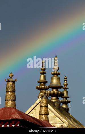 Rainbow over The Jokhang Temple Monastery, Lhasa, Tibet - Stock Photo