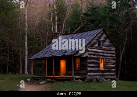 Carter Shield's cabin at night in Cades Cove, Great Smoky Mountains National Park, Tennessee, USA - Stock Photo