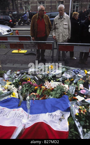 A sea of flowers at the spot where Theo Van Gogh was murdered earlier the same day on the 2nd of November 2004. - Stock Photo